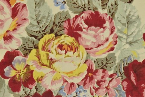 B805 - 3 Panels Sublime Antique French Printed Cotton Fabric Cabbage Roses Chinz, C1920