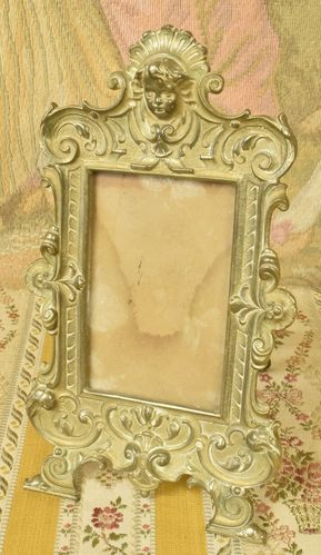B810 - Delightful Antique French Brass Photo / Picture Frame, Cherub's Face, 19th C