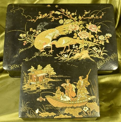 B811 - Two Gorgeous Antique Decorative Chinoiserie Lacquered Keepsake Boxes C1920