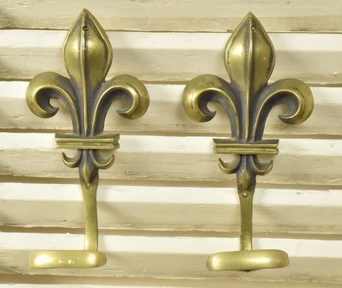 B822 - Pair Stunning Antique French Fleur De Lys Brass Coat Hooks, Chateau Grandeur