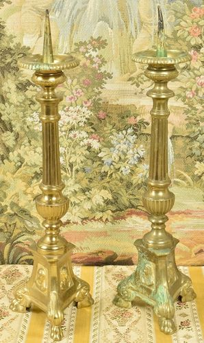 B818 - Pair Sublime Antique French Gilded Church Altar Pricket Candlesticks, 19th C