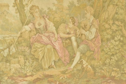 B824 - Gorgeous Vintage French Tapestry Wall Hanging, Sublime 18th C Rural Scene