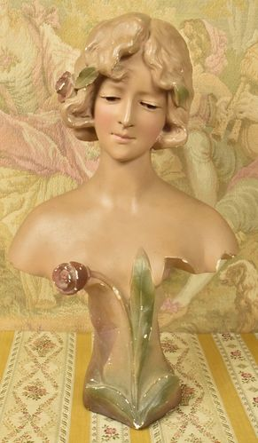 B825 - Beautiful Antique French Art Nouveau Plaster Bust, Girl & Flowers, Early 1900's