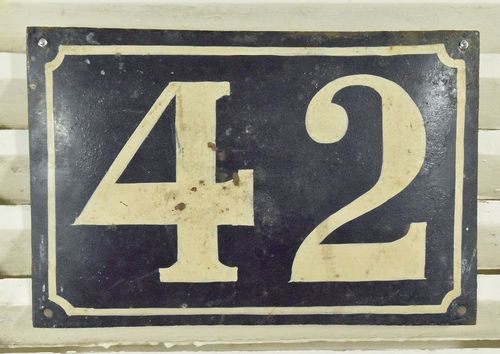 B835 - Superb Large Antique French Hand Painted  House / Gate Number 42 Sign / Plaque