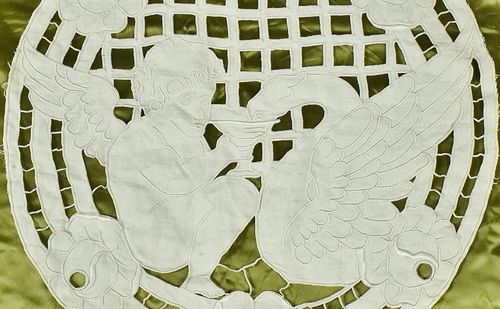 B836 - Divine Antique French Richelieu lace Panel, Winged Cherub & Griffin, C1900