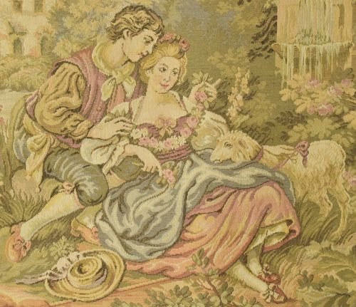 B837 - Divine Vintage French Tapestry Wall Hanging, Romantic Chateau Jardin Scene