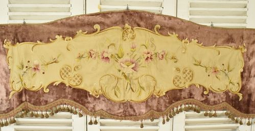 B840b - Exquisite Antique French Hand Embroidered Silk & Velvet Pelmet, 19th C