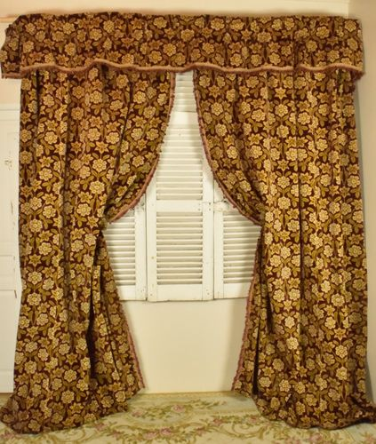 B842 - Sumptuous Pair Antique French Heavy Plush Velvet Chateau Curtains & Pelmet, C1900