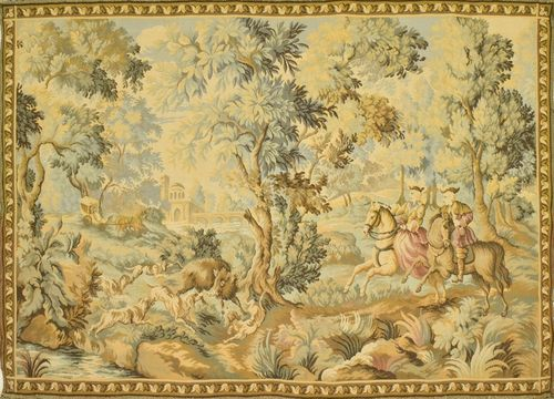 B844 - Stunning Vintage French Tapestry Wall Hanging, 18th C Hunting Scene