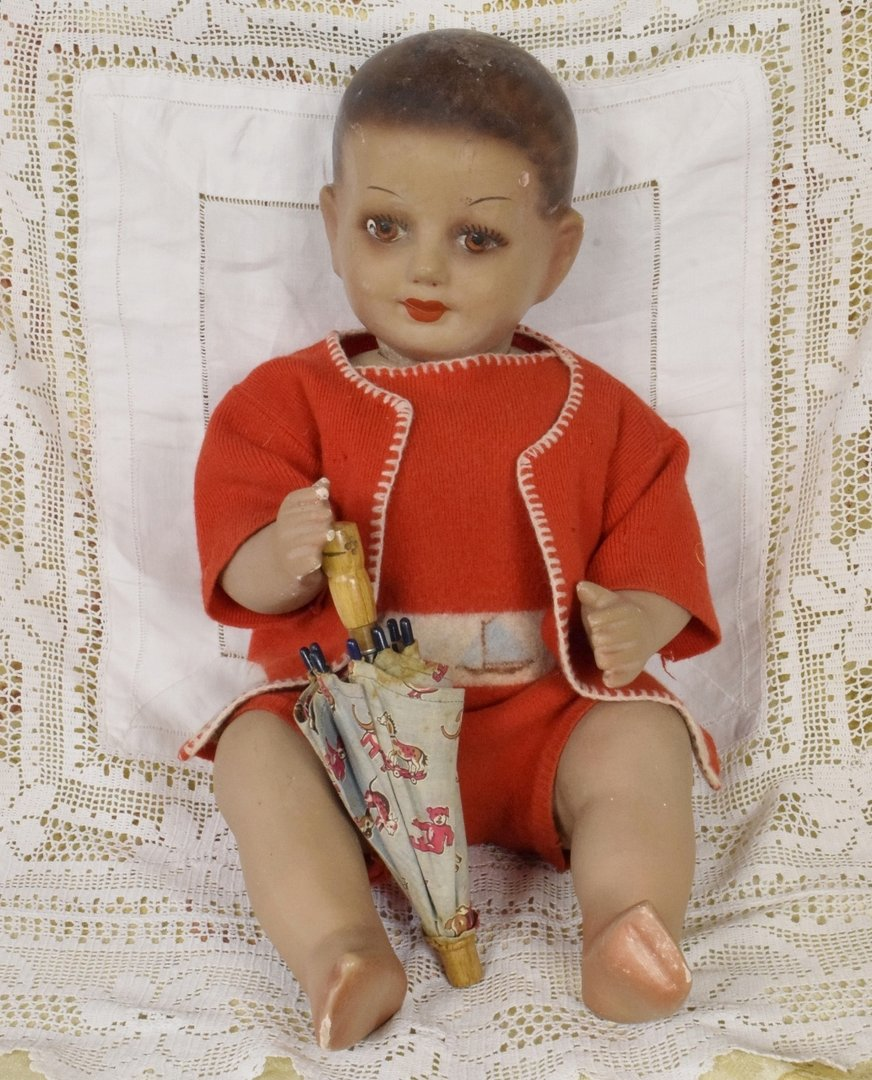 S040 - Fantastic Rare Antique French Plaster Baby Shop Mannequin / Display Dummy