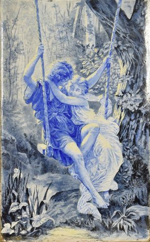 B849 - Gorgeous Antique Decorative Glazed Tile, Lovers On Swing, Signed J. Gilbert 1880