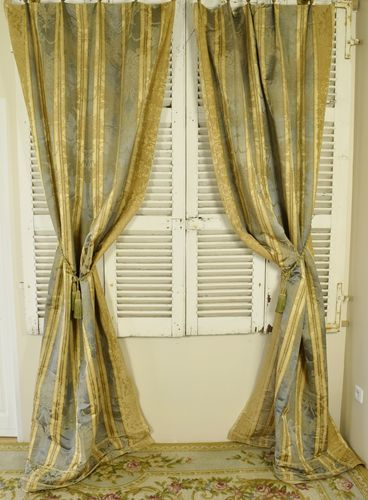B851 - Spectacular Pair Long Antique French Silk Damask Chateau Curtains C1900