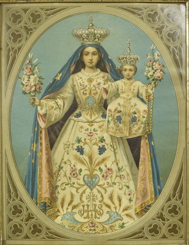 B854 - Resplendent Crowned Madonna & Child Antique French Framed Religious Print, 19th C