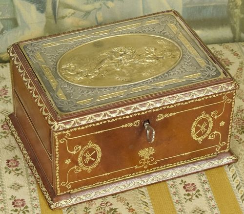 B856 - Exquisite Antique Italian Tooled Leather Jewel Box With Key, Frollicking Cherubs.