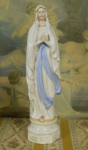 B857 - Divine Antique French Religious Porcelain Figure, Notre Dame De Lourdes, Mary, C1900