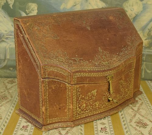 B858 - Gorgeous Antique Italian Tooled Leather Desk Box With Key, Silk Brocade Interior
