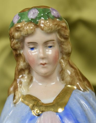 B859 - Sublime Antique French Religious Porcelain Figure Mary, The Madonna, C1900
