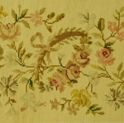 B865 - Exquisitely Pretty Antique French Tapestry / Needlepoint Border / Pelmet, Roses