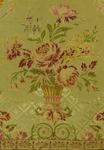 B866 - Divine Antique French Silk Brocade Pelmet, Bobble Passementerie, Basket of Roses
