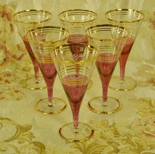 B872a - Divine Set 6 Vintage French Cranberry, Etched & Gilded Wine Glasses
