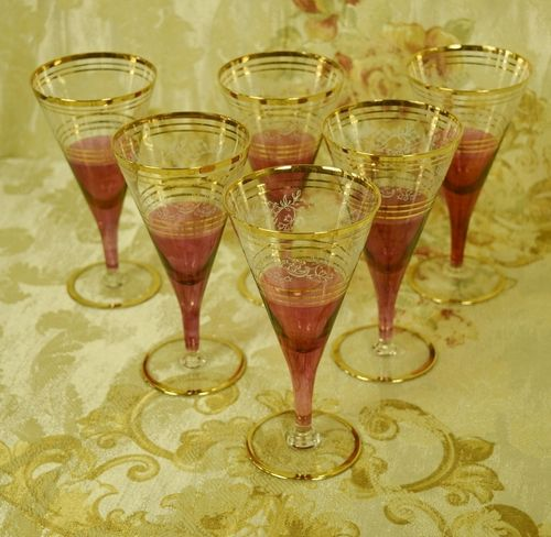 B872b - Divine Set 6 Vintage French Cranberry, Etched & Gilded Wine Glasses