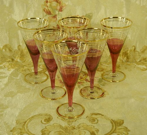 B872c - Divine Set 6 Vintage French Cranberry, Etched & Gilded Wine Glasses