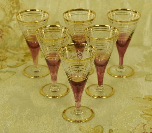 B874- Divine Set 6 Vintage French Cranberry, Etched & Gilded Liqueur Glasses