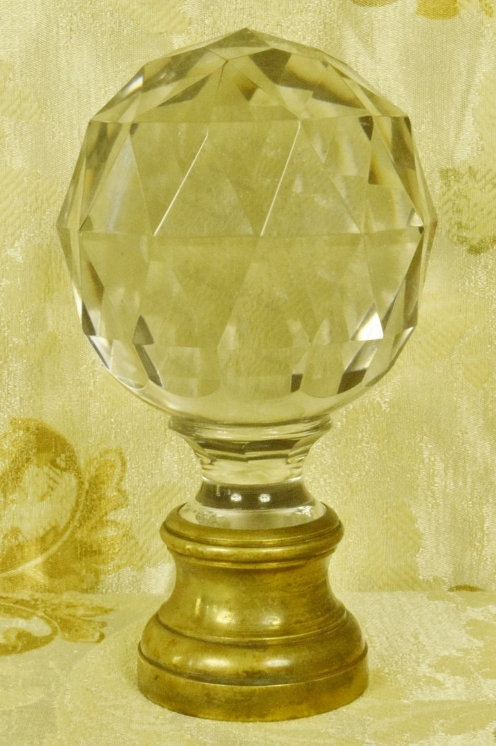 ... B875   Magnificent Antique French Facetted Crystal Stair / Newel Post  Finial, 19th C ...