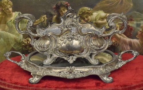 B880 - Sublime Antique French Spelter Jardiniere & Mirrored Tray Set, Rose Garlands