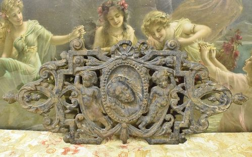 B883 - Divine Antique French Cast Iron Architectural Mount, Plaque With Cherubs, 19th C