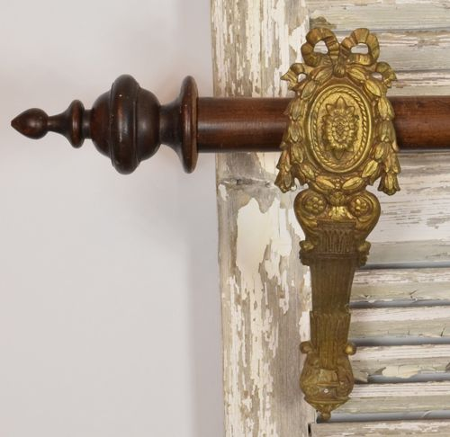 B893 - Magnificent PAIR Huge Antique French Crested Ormolu Curtain Pole Holders, 19th C