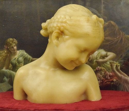 B896 - Gorgeous Antique French Belle Mademoiselle Wax Bust / Statue, 19th C