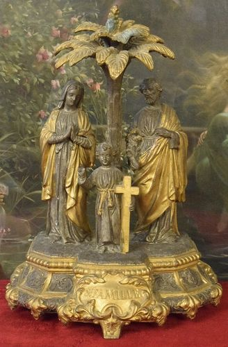 B898 - Amazing Antique French Religious Spelter Statue, Holy Family, St. Famille, 19th C