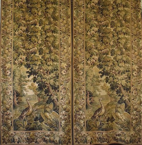 B885 - Spectacular PAIR Antique French Long Tapestry Chateau Portieres / Curtains