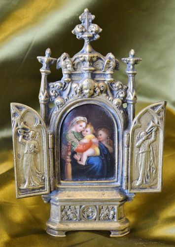 B901 - Exquisite Antique French Brass & Porcelain Religious Mary & Child Icon, 19th C
