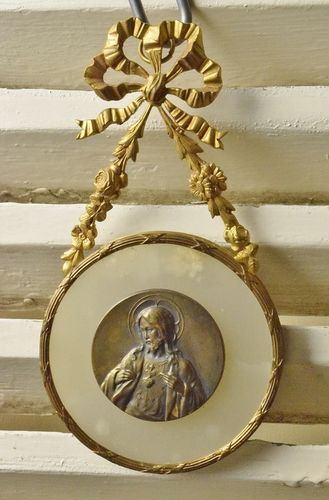B904 - Divine Antique French Religious Wall Mount, Jesus Christ, Flaming Sacred Heart