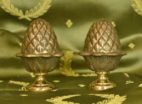 B905 - Superb Pair Vintage French Brass Acorn Curtain Pole Finials, Chateau Chic