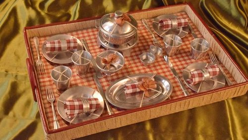 B906 - Charming Antique French Doll's Toy Aluminium Dinner Set On Original Tray, C1920