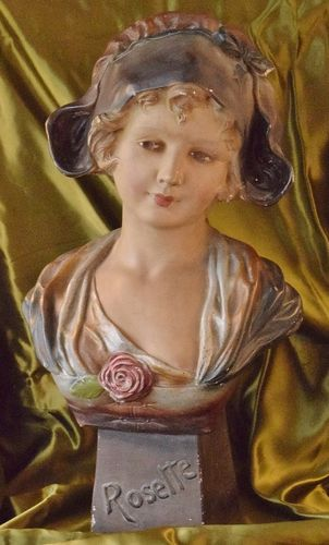 B911 - Superb Large Antique French Plaster Bust, Young Maiden Rosette, C1900