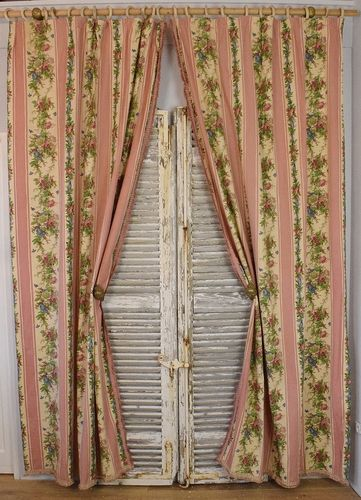 B916 - Beautiful Pair Long Vintage French Floral Curtains, Passementerie Trim, Romanex