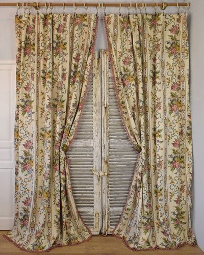 B917 - Gorgeous Pair Vintage French Curtains, Pink Bobble Passementerie