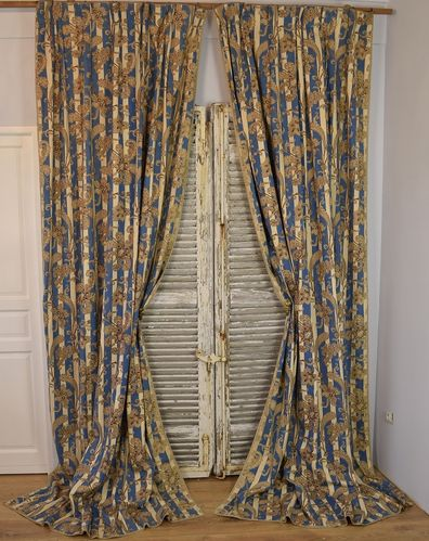 B918 - Spectacular Pair Antique French Chateau Curtains, Indienne/ Stripes, Mid 19th C