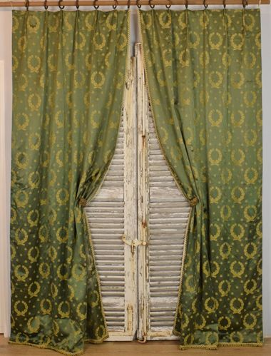 B919 - Superb Pair Long Antique French Chateau Curtains, Napoleonic Bee Silk Damask