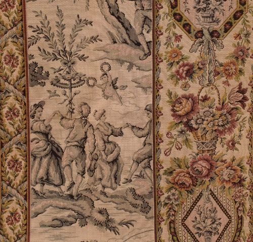 B921 - Divine Antique French Long Tapestry Chateau Portiere / Curtain / Panel, 19th C