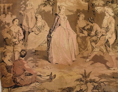 B922 - Magnificent Antique French Tapestry Wall Hanging, Chateau Jardin Scene, 19th C