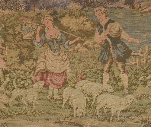 B923 - Beautiful Large Vintage French Tapestry Wall Hanging, Idyllic 18th C Rural Scene