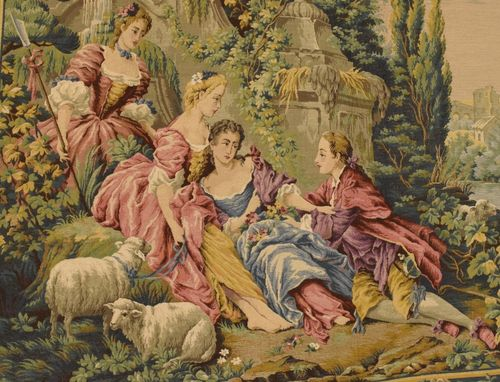 B925 - Beautiful Vintage French Tapestry Wall Hanging, 18th C Scene, Gorgeous Colours