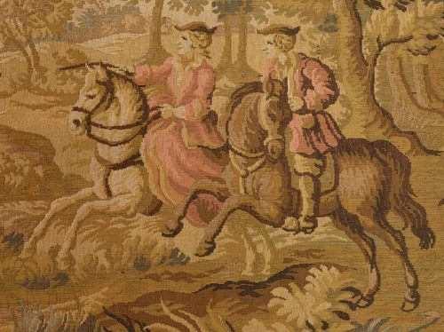 B926 - Superb Vintage French Tapestry Wall Hanging, 18th Century Hunting Scene