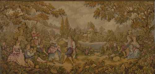 B936 - Charming Vintage French Tapestry Wall Hanging, Idyllic 18th C Country Scene