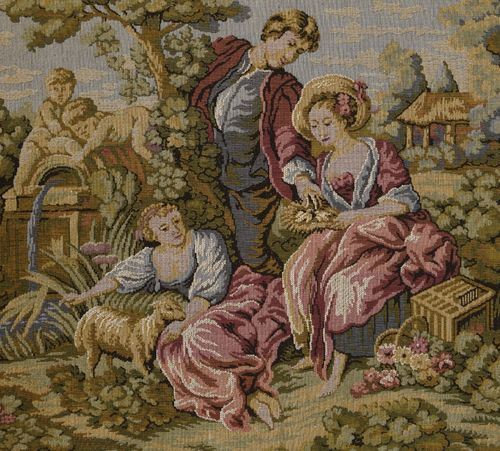 B937 - Gorgeous Vintage French Tapestry Wall Hanging, Charming 18th C Country Scene